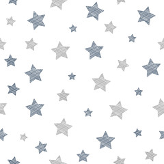 Concept of texture with hand drawn stars - background for a birthday party. Vector.