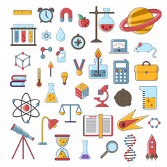 Set of scientific vector flat icons, education signs and symbols in colored modern science design with elements for mobile concepts and web apps. Collection of cute educational and science icons