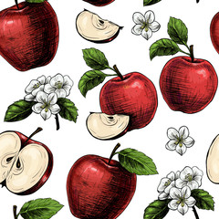 Apples  and flowers. Vector seamless pattern