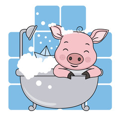 baby shower card. Cute cartoon pig in the bathroom on a blue background