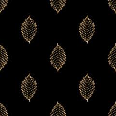 Transparent gold skeleton leaves autumn seamless pattern