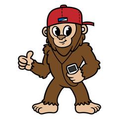Cartoon Sasquatch or Bigfoot Listening to Music