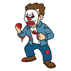 Cartoon Scary Man Wearing Clown Mask
