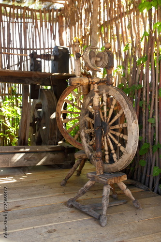Old distaff  Spinning wheel  Device for making yarns