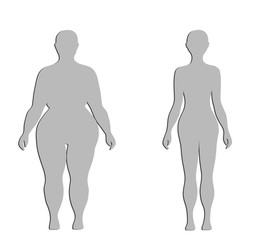 silhouettes of a thick and normal female figure. vector illustration.
