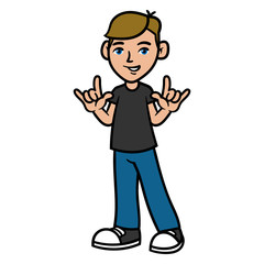 Cartoon Boy With Rock Hand Sign