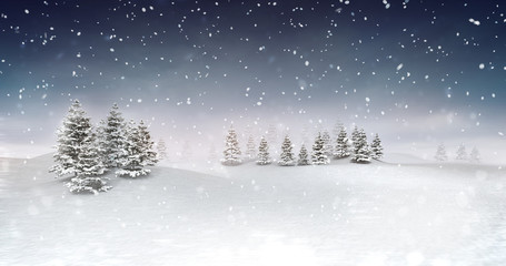 winter seasonal landscape at snowfall at evening, snowy calm nature 3D illustration render