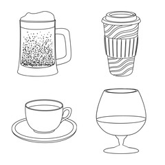 Isolated object of drink and bar logo. Set of drink and party stock vector illustration.