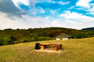 bench on mountain hill