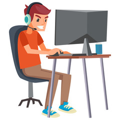 Vector illustration of E-sports player
