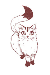 Cat on a white background. Handmade, hand drawn vintage illustration.
