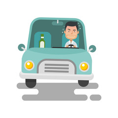Young Guy drinking and drunk driving
