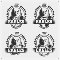 Volleyball, basketball, soccer and football logos and labels. Sport club emblems with eagle.