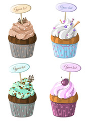 Set of cupcakes different colors with mini tablets for text . Cake dessert collection with cream. Vector illustration.