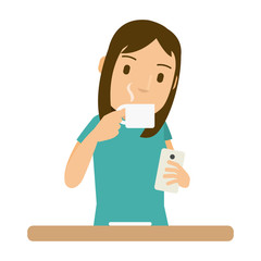 Vector illustration of women drink coffee and she look at the smartphone in the morning