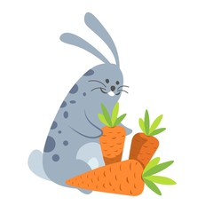 Rabbit smiling happy to be with carrot vector