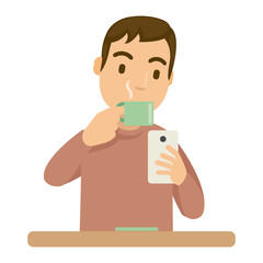 At the afternoon, a guy drink coffee and playing game in a smartphone