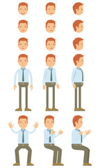 Vector illustration of businessman with guy standing and many motion. Many character for guy head