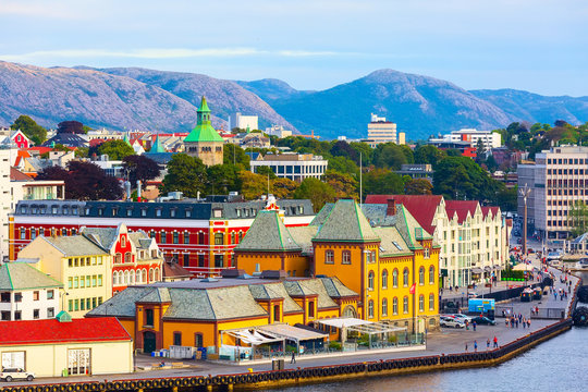 Stavanger, Norway city view with harbour and colorful traditional wooden houses