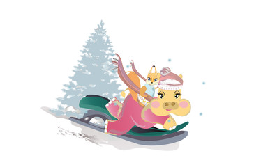 Series of vector illustrations with cute funny animals in cartoon style. Hippo with squirrel sledging in winter. Christmas card.