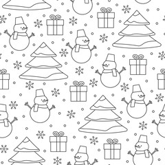 Outline Christmas seamless pattern. Seamless pattern with Christ