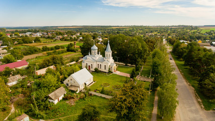 Aerial view of the church in the village.