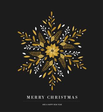 Elegant snowflake poster, winter icon, Merry Christmas greeting card