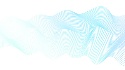 Light blue-green liquid waveform. Vector line art design element. Abstract wavy striped pattern. White background. Flowing waves, silk ribbon, scarf imitation. Transparent lines. EPS10 illustration