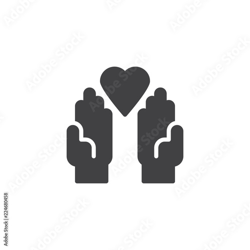 Donation Hands With Heart Vector Icon Filled Flat Sign For Mobile