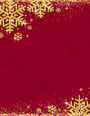 Red christmas wooden background with frame of gold glittering snowflakes, vector illustration