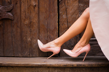 Nude colored high heel shoes