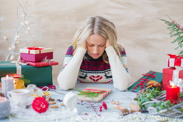 Woman in stress about Christmas holidays