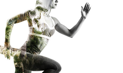 Double exposure of young sporty woman and nature.