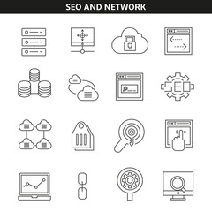 seo and network icons in line style