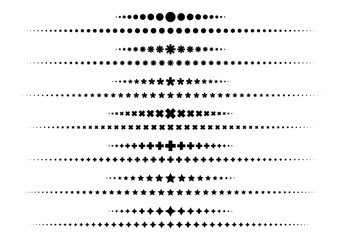 Vector illustration of the pattern of dots, star, plus to be line on white background.