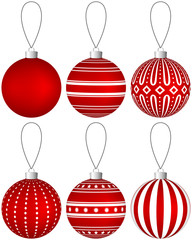 Collection of red Christmas balls with pattern hanging on a thread. Vector EPS 10