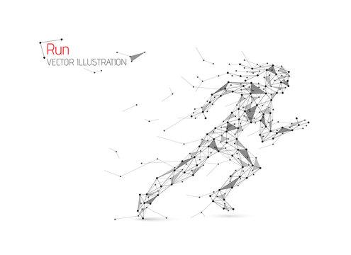 Abstract woman running away. Start sprint. Run. Vector illustration.