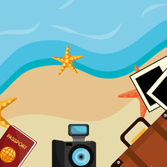 beach landscape with set icons
