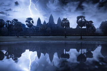 Angkor Wat temple during a storm
