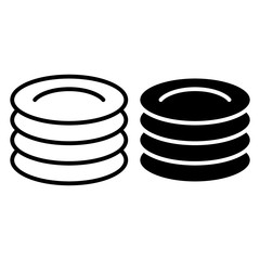 Plates line and glyph icon. Dishes vector illustration isolated on white. Cymbals outline style design, designed for web and app. Eps 10.