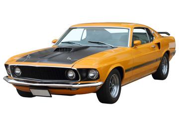 Yellow retro car.