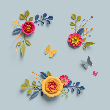 3d render, craft paper flowers, fall, autumn botanical arrangement, thanksgiving floral elements, bright candy colors, nature clip art isolated on pale blue background, decorative embellishment