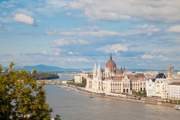 Budapest Parliament view with Danube river and City, Hungary