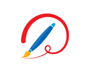 paintbrush and stroke concept vector