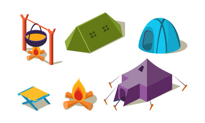 Vector set of isometric camping equipment. Different tents, chair and cauldron of soup over campfire. Active recreation theme