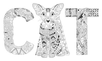 Word cat for coloring. Vector decorative zentangle object
