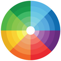 Color wheel with shade of colors. color pallete
