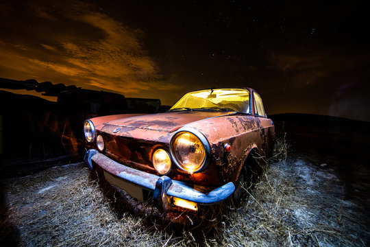 Terrifying illumination of abandoned car