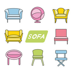 colorful sofa and chair icons