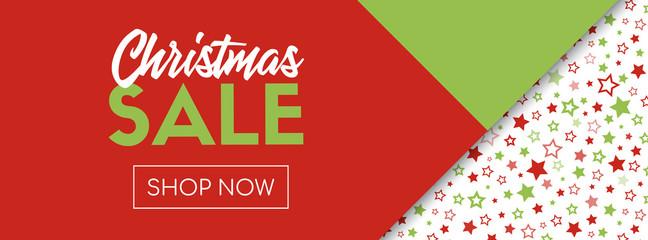 Christmas sale vector banner template. Shop now